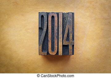 2014 - The year 2014 written in vintage letterpress letters.