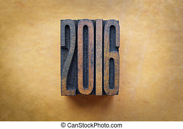 2016 - The year 2016 written in vintage letterpress type.
