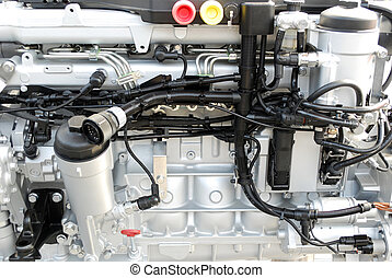 heavy truck engine close up