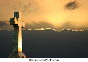 Cross Sunset - Stone Cross at Dusk