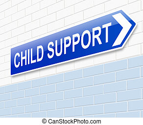 Child support concept - Illustration depicting a sign with a...