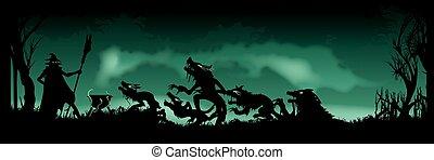 dia das bruxas, bandeira,  witching