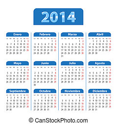 Blue glossy calendar for 2014 year in Spanish - Blue glossy...