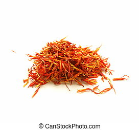 moroccan saffron treads in pile, macro shot soft focus