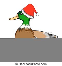 A Christmas duck isolated on a white background. Vector-art...