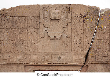 The Gate of the Sun with Viracocha - Famous landmark the...