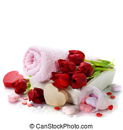 Bath and spa Valentine theme with towel, bath soaps and...