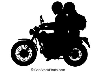 Two men and bike - Vector drawing silhouettes of...