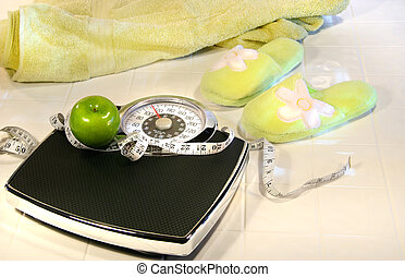 Weight scale on tile floor with towel and slippers,0,200) -...