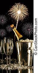 anteojos, champaña, fuegos artificiales