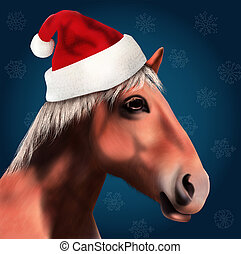Horse with Santa Claus Hat - 3D Horse with Santa Claus Hat...