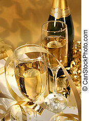 Golden champagne sparkle - Close-up of fluted champagne...