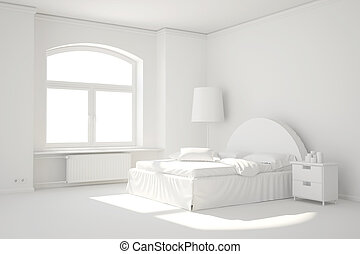 Empty white bed room with window and heating radiator -...