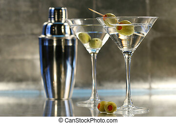 Martinis with shaker - Martinis with olives and shaker on...