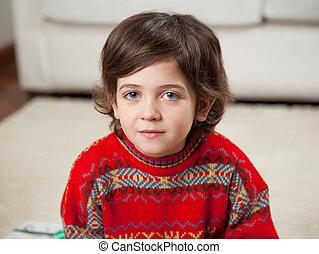 niño, Llevando, rojo, suéter, Durante, navidad