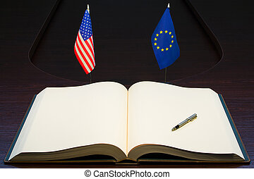 USA and Europe friendship concept - European Union EU - USA...