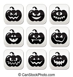 Halloween pumkin vector buttons set - Celebrating halloween...