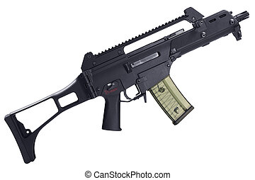 Automatic assault rifle isolated
