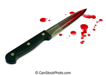 Bloody kitchen knife and blood droplets. Isolated on white,...