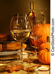 Wine at Thanksgiving - White wine on the table at...