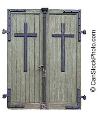 Church doors - Wooden doors to an old catholic church built...