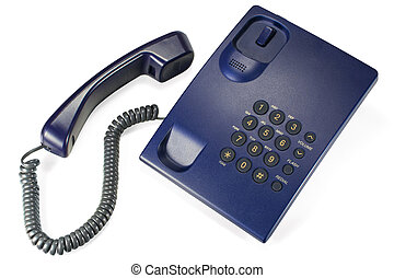Corded landline phone isolated - Clipping path available.