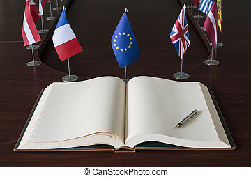 EU - European Union - Open spread book, fountain pen, EU...