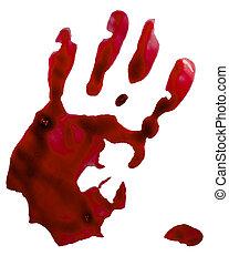 sangriento, mano, estampilla, aislado