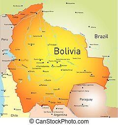 Bolivia - vector color map of Bolivia country