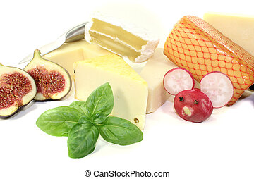 delicious selection of cheese with knife, radishes mouse and...