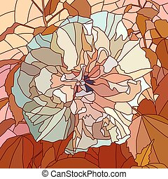 Mosaic of hibiscus Chinese rose - Vector mosaic with large...