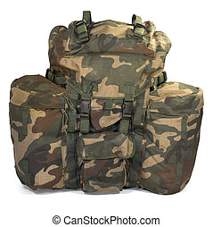 Military backpack isolated on white