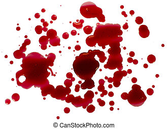 Blood droplets (splatters) isolated on white. Clipping path