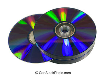Pile of blank optical discs CD, DVD or Blu-Ray isolated on...
