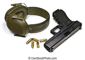 Pistol, ear protection and ammunition