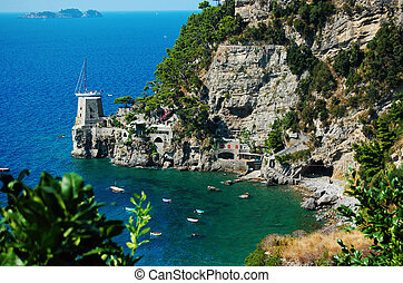 A view od Costiera Amalfitana - A view of a bay in the...