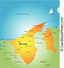 Brunei - Vector map of Brunei country