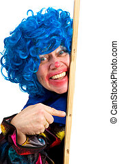 Pointing clown with memo board for text