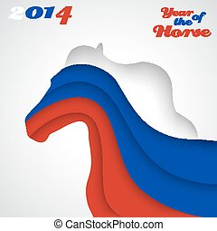 Abstract applique paper horse. Vector illustration for your happy holiday design. Christmas and New Year card. Colors of Russian flag. 2014