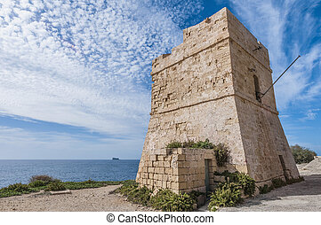 Watch Tower near Blue Grotto in Malta - Coastal watch tower...