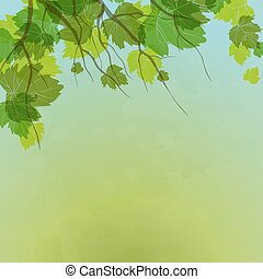 Fresh Green Leaves On Natural Background.Vector...