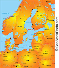 Baltic region countries - Map of Baltic region countries