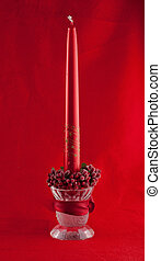 Christmas Candle - Red Christmas candle over complete red...
