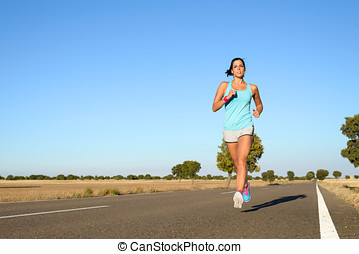 Woman running for marathon - Fitness woman running fast in...