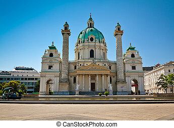 Karlskirche in Vienna - St. Charles Church (Karlskirche) in...