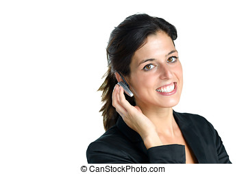 Call center operator with headset - Female operator or...