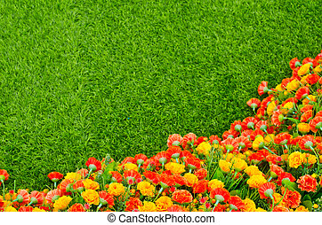 Artificial Grass Field and Flowers ,Top View Texture