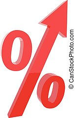 Red percentage symbol with an arrow up. Vector illustration.