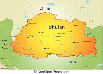 Bhutan - Vector map of Bhutan country