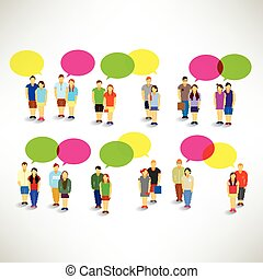 Couple Gather and Talking Together Vector Design